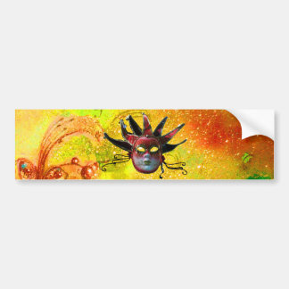 BLACK RED JESTER MASK,Masquerade Party Yellow Car Bumper Sticker