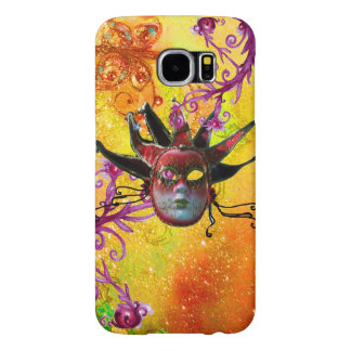 BLACK RED JESTER MASK Masquerade Party Yellow Samsung Galaxy S6 Case