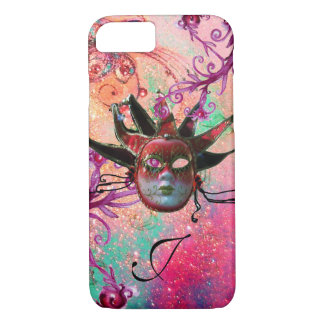 BLACK RED JESTER MASK Masquerade Pink Monogram iPhone 8/7 Case