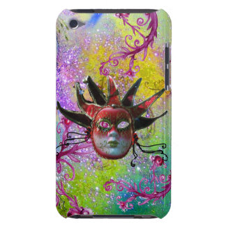 BLACK RED JESTER MASK Masquerade Purple Green Barely There iPod Case