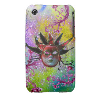 BLACK RED JESTER MASK Masquerade Purple Green Case-Mate iPhone 3 Cases