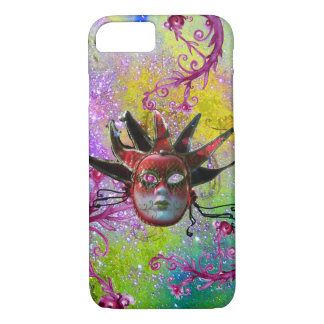 BLACK RED JESTER MASK Masquerade Purple Green iPhone 8/7 Case