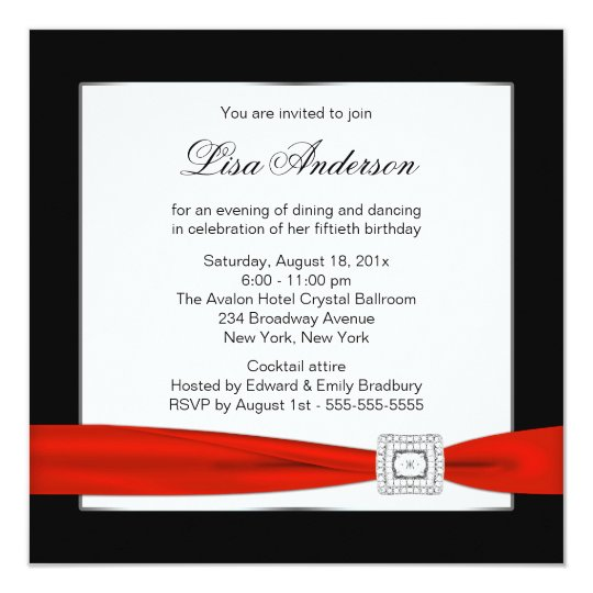 Black Red Jewel Classy Womans 50th Birthday Invitation