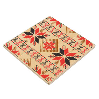 BLACK RED KNIT CROCHET EMBROIDERY PATTERN WOOD COASTER