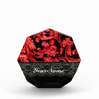 Black & red lace floral pattern award