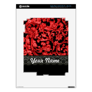 Black & red lace floral pattern decal for iPad 3