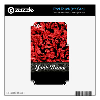 Black & red lace floral pattern iPod touch 4G decal
