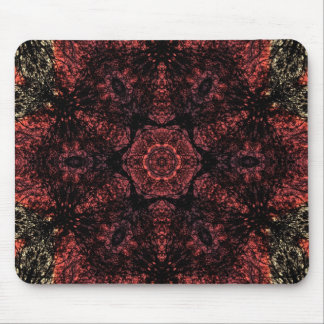 Black & red  lace fractal pattern design mouse pad