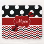 """Black Red Ladybug Chevron Personalized Mousepad<br><div class=""""desc"""">Show off your personal style in a fun way with this black and red polka dots and chevron personalized mousepad.</div>"""