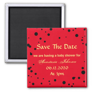 Black Red Ladybug Colors Save The Date Baby Shower Magnet
