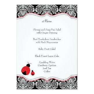 Black Red Ladybug Damask Baby Shower Menu Card