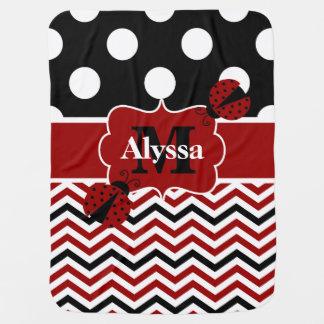 Black Red Ladybug Dots Chevron Personalized Swaddle Blanket