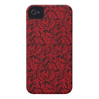 BLACK-RED-LEAFY-SWIRLS iPhone 4 Case-Mate CASE