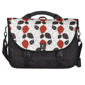 Black & Red Leaves Abstract Art Laptop Bag