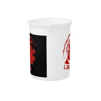 Black Red Lenin Communist Artwork Beverage Pitchers