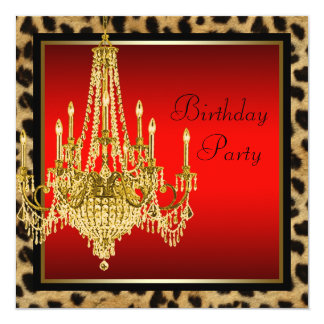 Black Red Leopard Gold Chandelier Birthday Party Custom Announcements