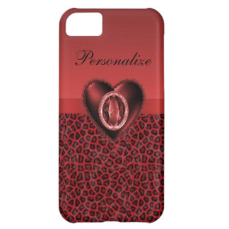 Black & Red Leopard Print & Bling Heart iPhone 5C Cases