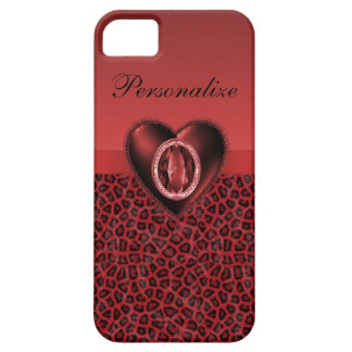 Black & Red Leopard Print & Bling Heart iPhone 5 Covers