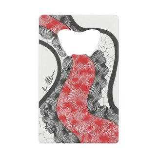Black Red Line Ink Design Card Opener