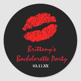 Black & Red Lips Kiss Party Favor Sticker