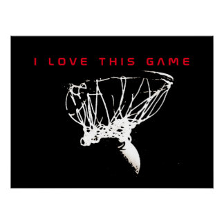 Black & Red Love Basketball Game Perfect Poster
