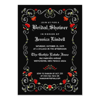 Black & Red LOVE Halloween Gothic Bridal Shower Card