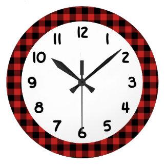 Black Red Lumberjack Buffalo Plaid Large Clock