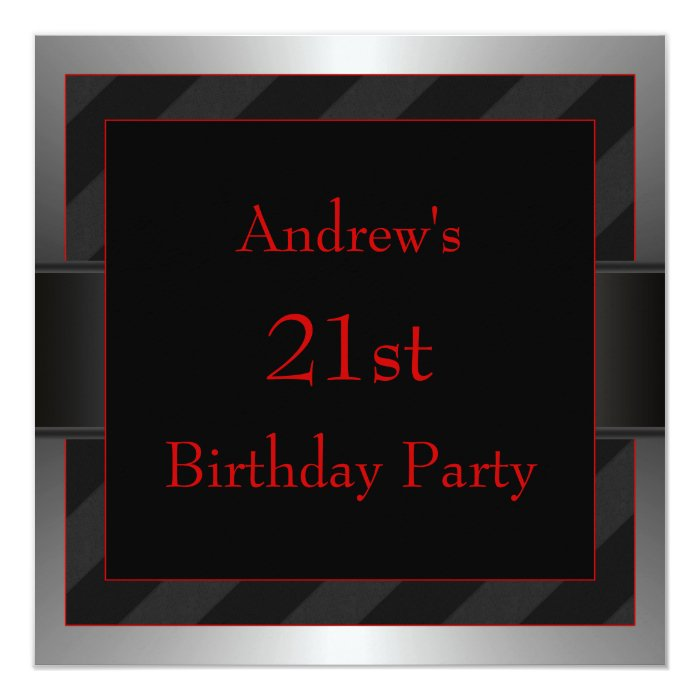 Black Red Mans 21st Birthday Party Card