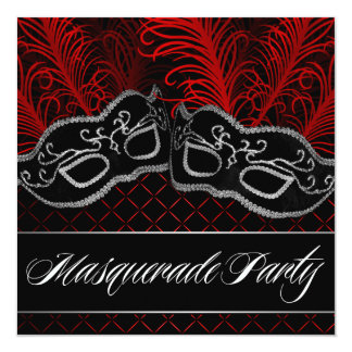 Black Red Mask Masquerade Ball Party Invitations