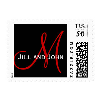 Black Red Monogram Names Wedding Postage