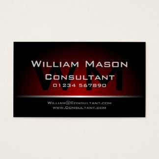 Black Red Monogram Professional - Business Card