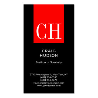 Black Red Monogram Professional Business Card