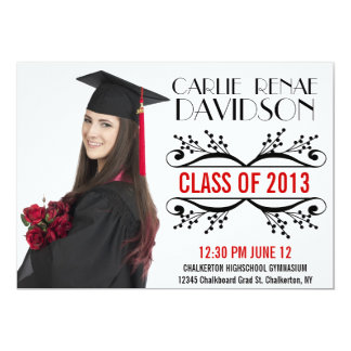 Black Red Nameplate Photo Grad of 2013 Card