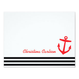 Black & Red Nautical Stripes & Anchor Stationery Card