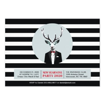 Professional Business Black & Red New Year's Eve Invitation Card, Deer