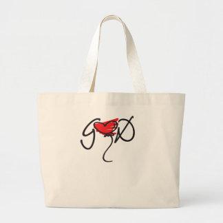 Black/red on white uplifting GOD design. Canvas Bag