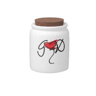 Black/red on white uplifting GOD design. Candy Jar