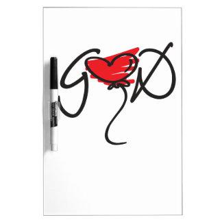 Black/red on white uplifting GOD design. Dry Erase Whiteboards