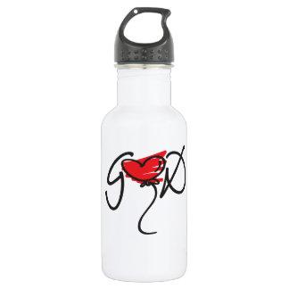 Black/red on white uplifting GOD design. Water Bottle