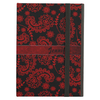 Black & Red Paisley iPad Case With Stand