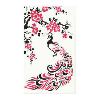 Black red peacock and cherry blossoms custom gallery wrap canvas