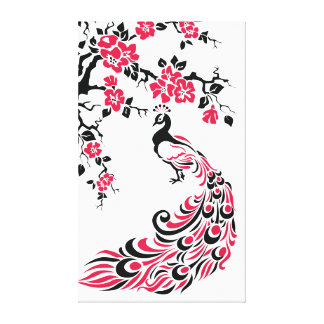 Black red peacock and cherry blossoms custom canvas print