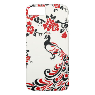 Black, red peacock & cherry blossoms iPhone 7 case