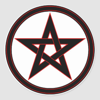 Black & red pentacle classic round sticker