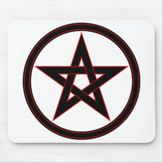 Black & Red Pentacle Mouse Pad