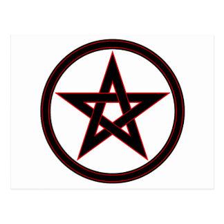 Black & Red Pentacle Postcard