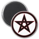 Black & red pentacle refrigerator magnet