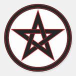 Black & red pentacle round sticker