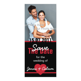 Black & Red Photo Save the Date 4x9.25 Paper Invitation Card