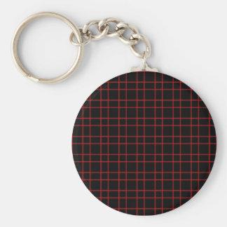 Black Red Plaid Basic Round Button Keychain